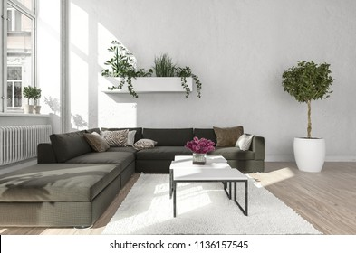 Living room with black sofa next to metal table standing on white carpet and wall planter near window and radiator. 3d Rendering