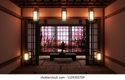 Living room with bonsai tree and low table on tatami mat and window view sakura tree,Japanese style. 3D rednering