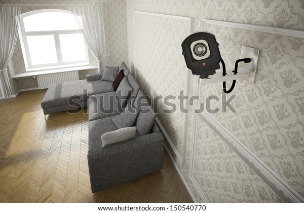 Living room with cctv camera and grey sofa