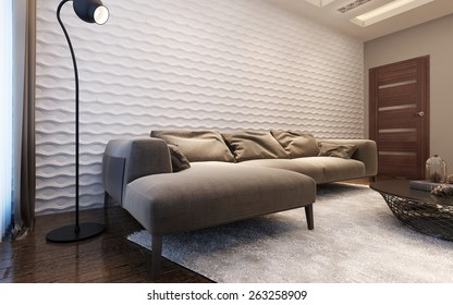 Living room contemporary style, 3d render