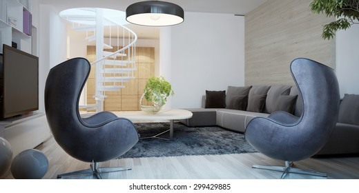 Living room contemporary style. 3D render