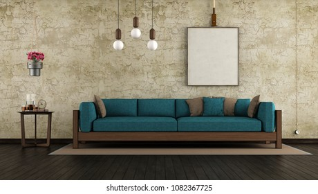 Living room with cracked wall and wooden sofa with blue cushion- 3d rendering