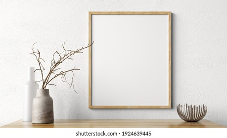 Living room decoration. Wooden mock up poster frame on white wall above the shelf. Home decor with vases. Interior background 3d rendering