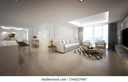 The living room and dining room space for apartment and condominium interior design / 3D rendering scene