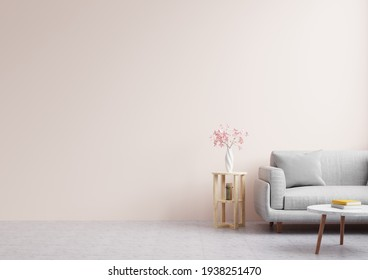 Living room with empty pink walls, decorated with beautiful flowers and sofas.3d rendering