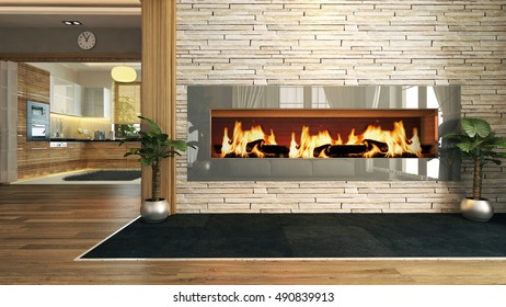 living room with fireplace 3D design and rendering for your project by Sedat SEVEN