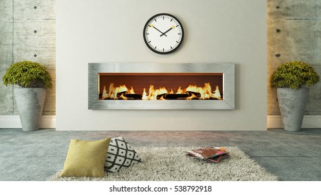 living room with fireplace 3D rendering for your project by Sedat SEVEN