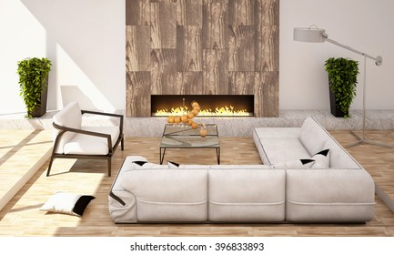 Living Room with Fireplace with Big Sofa and Armchair in White Colors 3D rendering / 3D illustration