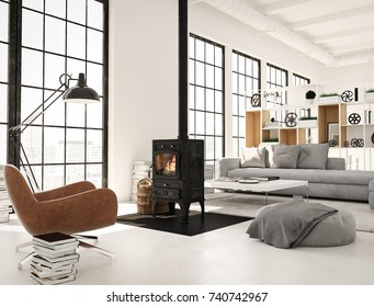 living room with fireplace in modern loft apartment. 3d rendering