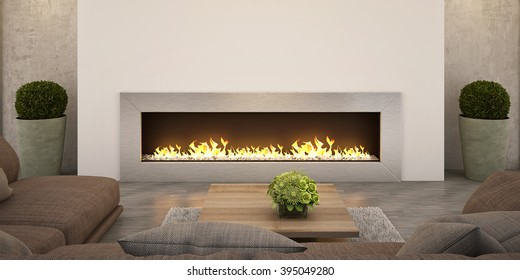Living room Fireplace, relax zone for Family 3D rendering.