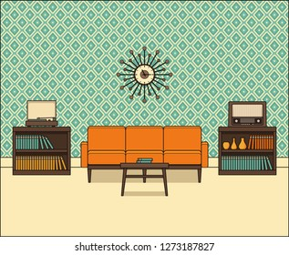 Living room in flat design. Retro room interior 60s in line art. Linear illustration. Thin line home space with sofa, vinyl turntable and radio. House equipment 70s. Vintage background.