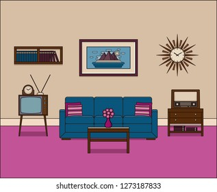 Living room in flat design. Retro room interior in line art. Linear illustration. Thin line home space with sofa, TV and radio. House equipment 60s. Vintage background.