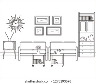 Living room in flat design. Retro room interior in line art. Linear illustration. Thin line vintage home space with sofa, TV and cupboard. House equipment 60s. Black, white furniture.