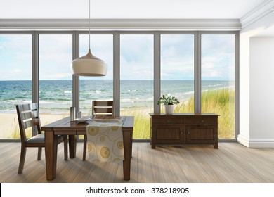 Living Room With Furniture Seaside Background 3d rendering