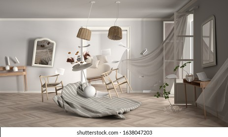 Living room, home chaos concept with chairs and table, carpet, windows and curtains, broken vase, mirrors, furniture and other accessories flying in the air, explosion, gust of wind, 3d illustration