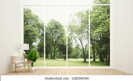 Living room in home and nature view - Relax area in living room and forest view background - Interior simple design for residential artwork - 3D Rendering