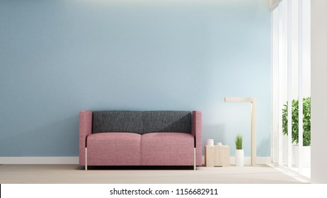 Living room in house or apartment on light blue wall decorate. Interior simple design. Artwork for residence business. 3D Rendering
