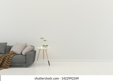 living room interior 3d render sofa gray table lamp background wood floor wooden wall template design texture