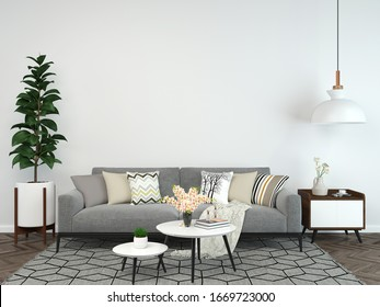 living room interior 3d render gray sofa white concrete wall with table lamp background. wood floor wooden wall template design texture