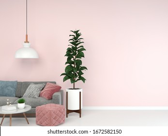 living room interior 3d render sofa gray table lamp background wood floor wooden pink wall template design texture