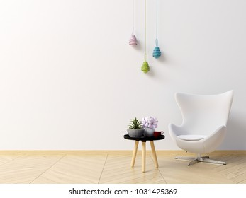 Living Room Interior With Armchair, Coffee Table, Plants And Lamp White  Wall Background.