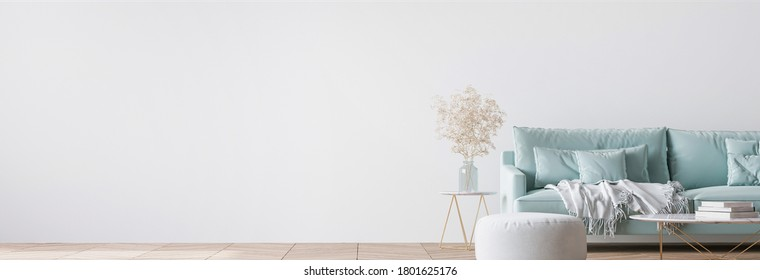 Living room interior with blue velvet sofa, pillows, white plaid, and gold coffee table on white wall background, empty wall mockup, panorama, 3d render, 3d illustration