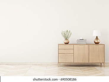 Living room interior with chest of drawers, plants and lamp on beige wall background. Empty space on left. 3D rendering.