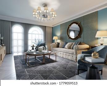 Wohnzimmereinrichtung im klassisch mediterranen Stil mit beigem Sofa, zwei blauen Sesseln und blauen Wänden, Fernseher und Inneneinrichtung. 3D-Darstellung.