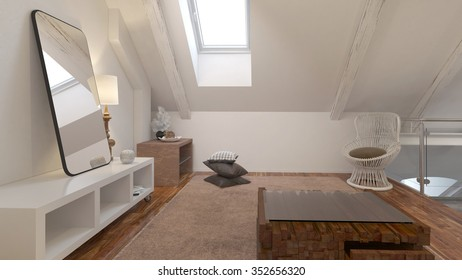 Living room interior with comfortable chair under a roof slope. 3d Rendering.