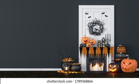 Living room interior decorated with lanterns and Halloween pumpkins, Jack-o-lantern, for Halloween party, 3D Rendering