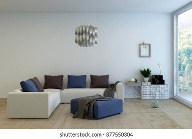 Living Room Interior Decorated with Simple Furnishings - L Shaped Sofa with Cushions and Ottoman in Living Space with Modern Chandelier and Large Window with Forest View. 3d Rendering.