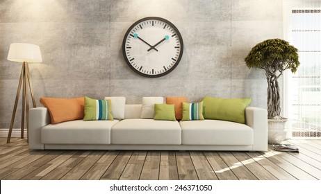 living room interior design 3d rendering