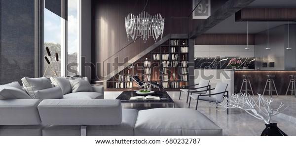 Living room, interior design 3D Rendering, 3D Illustration