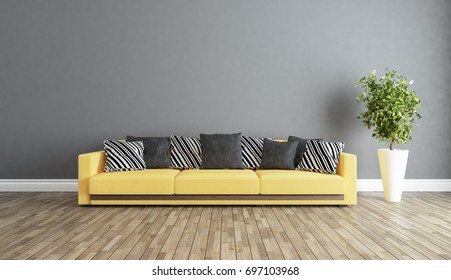 living room interior design with grey wall 3D rendering