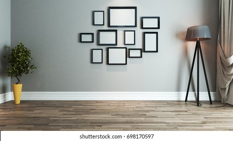 living room interior design with picture frame on wall 3D rendering