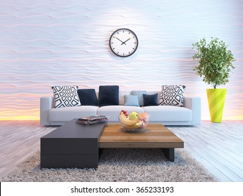 living room interior design with seat or sofa and wave wall 3d rendering