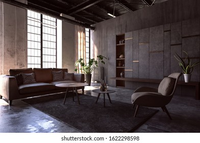 Living room interior design with vintage furniture in 80s style, dark walls and black carpet on stone floor. 3d Rendering.