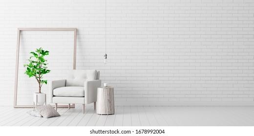 Living room interior design with white velvet armchair and white brick wall 3d render 3d illustration