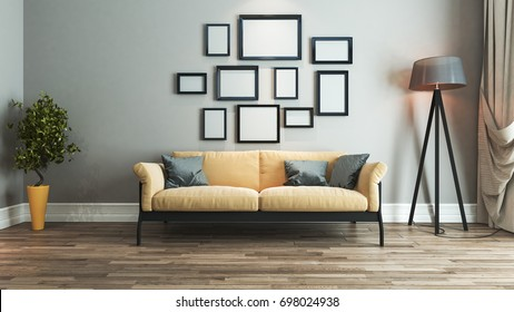living room interior design with yellow and black seat and picture frame on wall 3D rendering