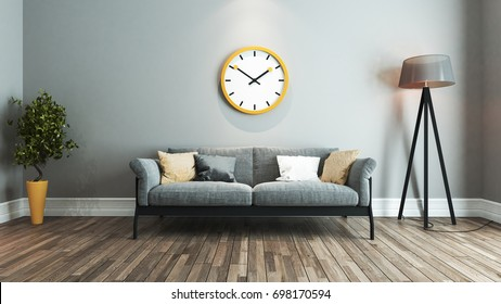 living room interior design with yellow and black seat and big yellow watch on wall 3D rendering
