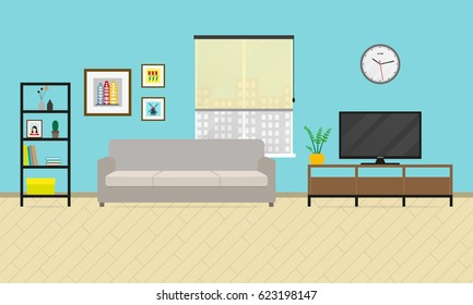 Living room interior. Furniture in flat style with sofa, bookcase and TV.