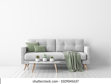 Living room interior with gray velvet sofa, pillows, green plaid and coffee table with succulents in pots on white wall background. 3D rendering.