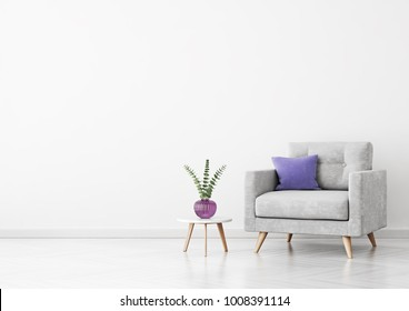 Living room interior with grey velvet armchair, violet pillow, vase and coffee table on empty white wall background. 3D rendering.
