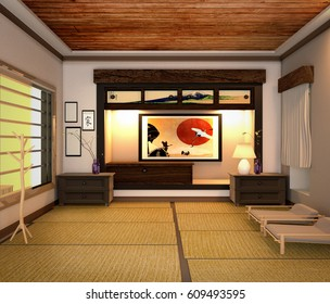 Living room interior, Japanese style. 3D rendering