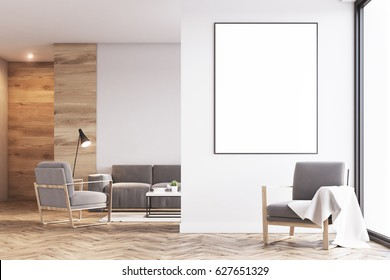 Living room interior with light wooden walls, two gray armchairs, a sofa and a large framed vertical poster. 3d rendering, mock up