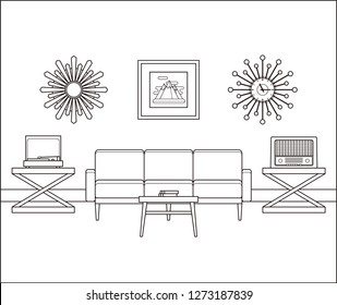 Living room interior in line art. Retro room flat design. Linear vintage illustration. Thin line home space with furniture. Outline sketch. Hand draw black white house equipment 60s 70s.