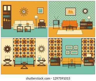 Living room interior. Linear rooms with furniture. Retro line home space, house equipment. Flat thin line art style illustration. Set of outline sketch. Vintage design background 1960s.