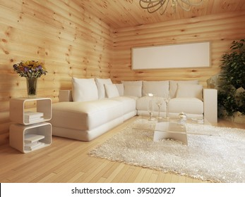living room interior in a log house. Interior in modern style with a corner sofa and a green area. 3D render.