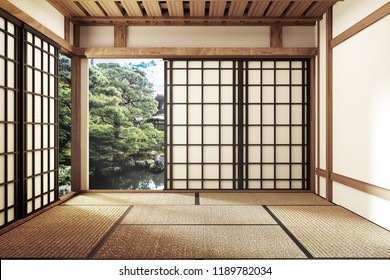 living room interior in and minimal design with Tatami mat floor and Japanese, empty room interior, 3D rendering