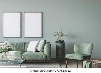 living room interior mock up, modern furniture and trendy home accessories, on colored background, 3D render, 3D illustration